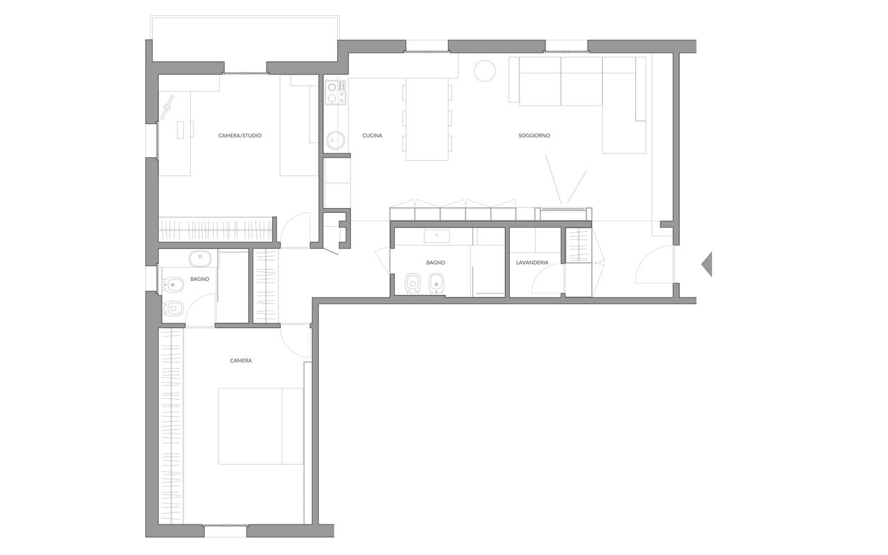 A04 ristrutturazione appartamento casalecchio di reno for Planimetrie dell appartamento seminterrato